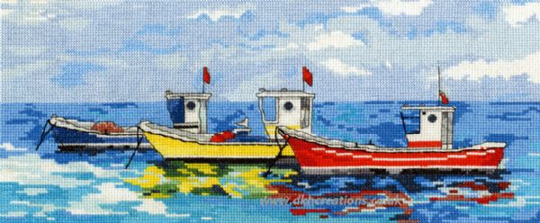 Bright Fishing Boats Cross Stitch Kit